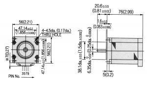 Maßzeichnung eines Motors mit Nema23-Flansch, Beispiel Nidec Servo KH56QM2-951